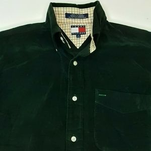 Vintage Tommy Hilfiger Green Corduroy Shirt Size s